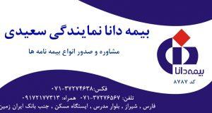بیمه دانا نمایندگی سعیدی در شیراز