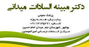 دکتر مبینه السادات میدانی در بوشهر