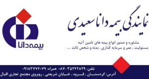 نمایندگی بیمه دانا سعیدی در قروه
