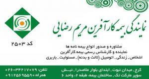 نمایندگی بیمه کارآفرین مریم رضایی کد ۲۵۰۳ در کرج