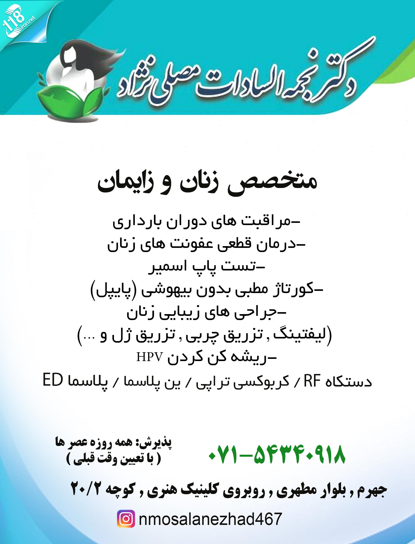 دکتر نجمه السادات مصلی نژاد در جهرم