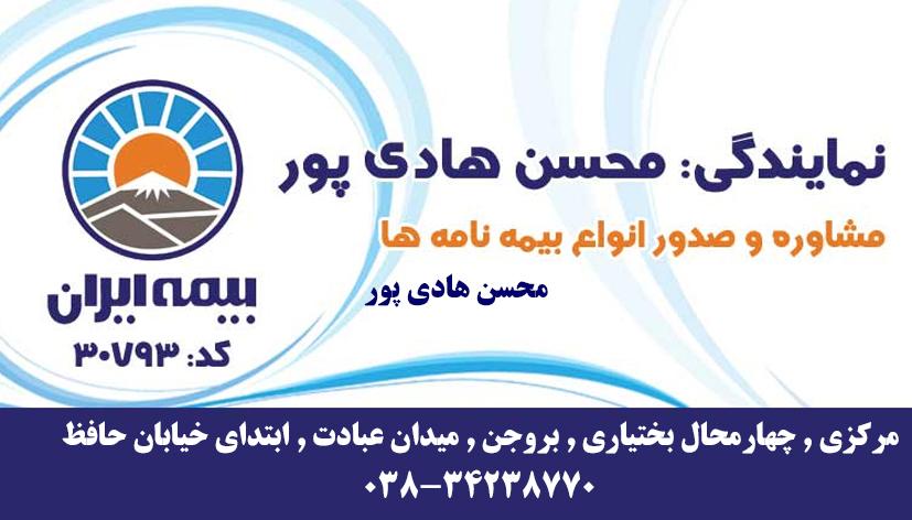 نمایندگی بیمه ایران محسن هادی پور کد۳۰۷۹۳