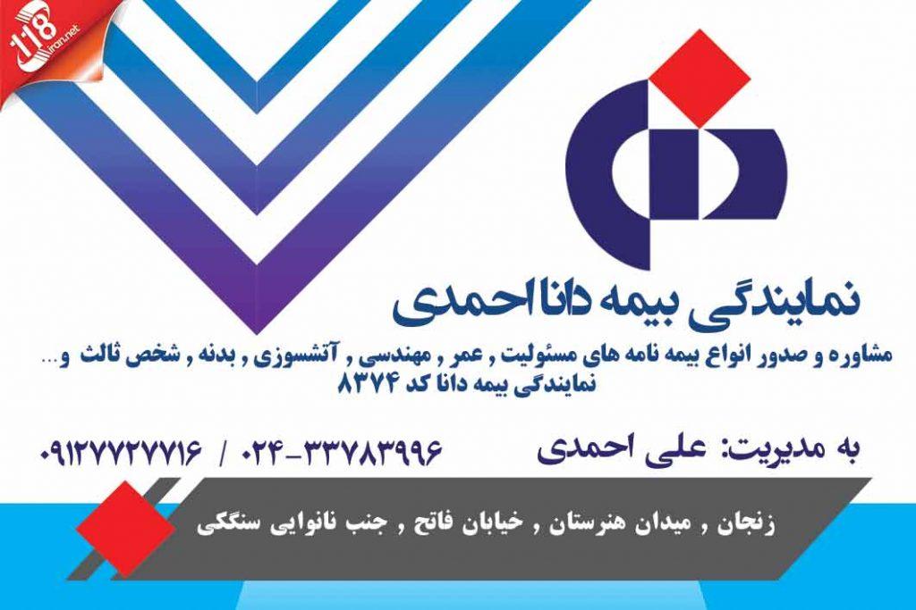 نمایندگی بیمه دانا احمدی در زنجان